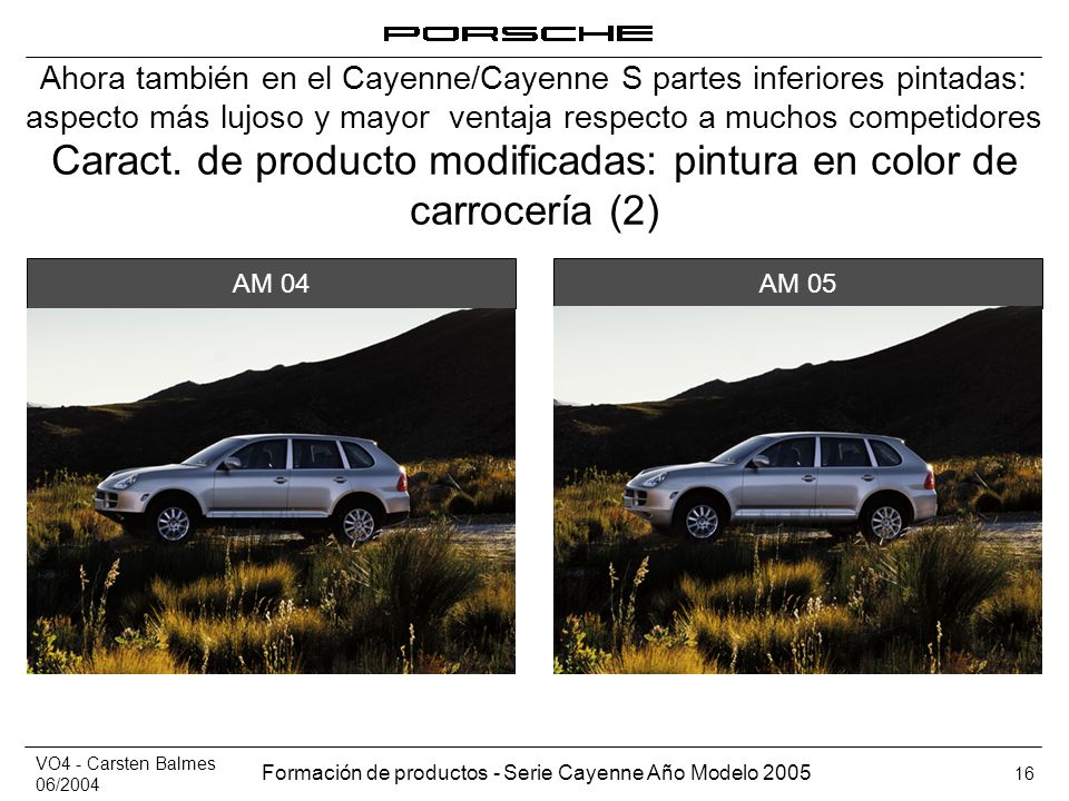 Caract. de producto modificadas: pintura en color de carrocería (2)