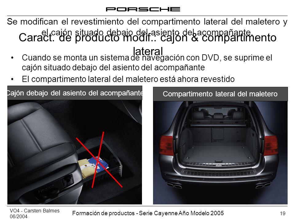 Caract. de producto modif.: cajón & compartimento lateral