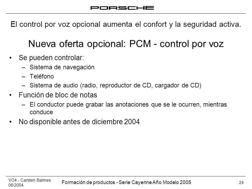 Nueva oferta opcional: PCM - control por voz