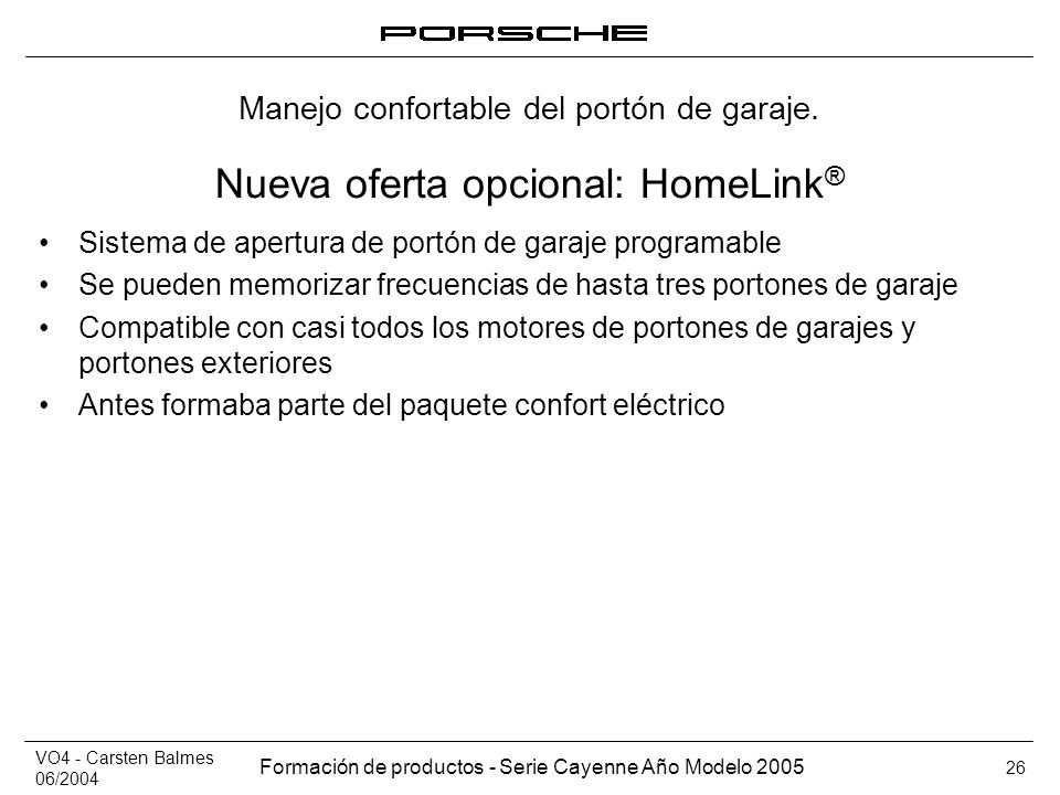 Nueva oferta opcional: HomeLink®