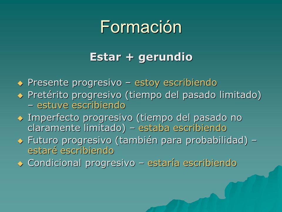 Formación Estar + gerundio Presente progresivo – estoy escribiendo