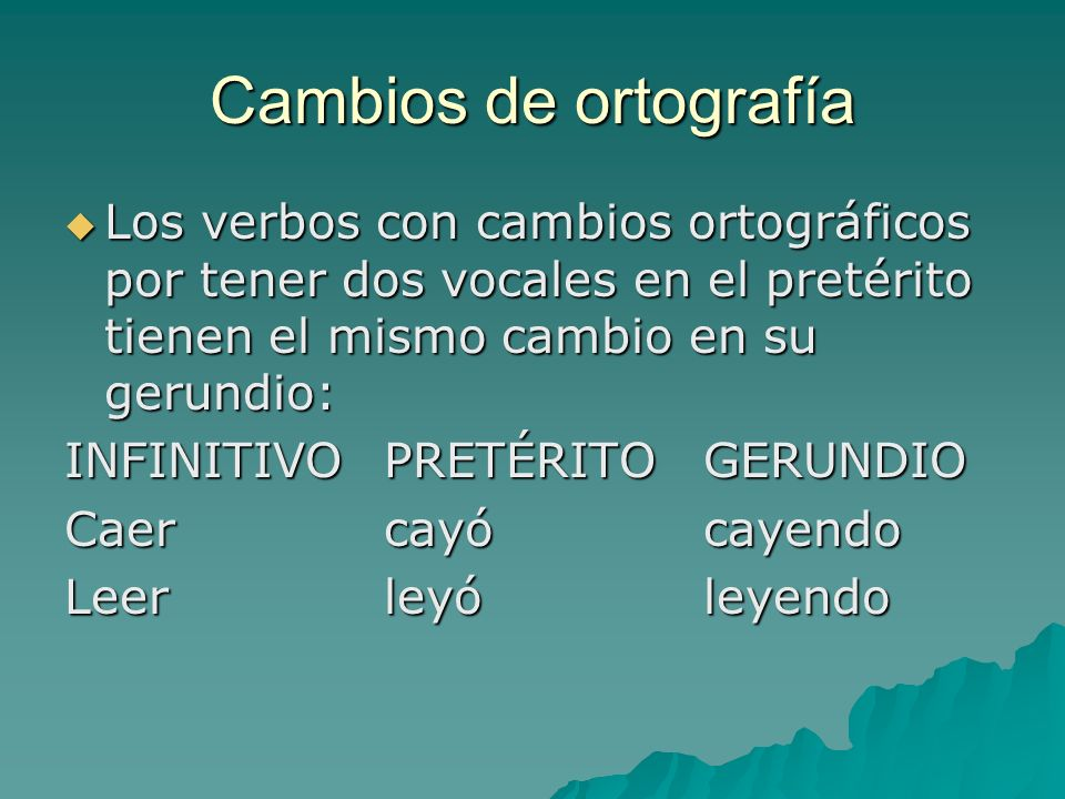 Cambios de ortografía Los verbos con cambios ortográficos por tener dos vocales en el pretérito tienen el mismo cambio en su gerundio:
