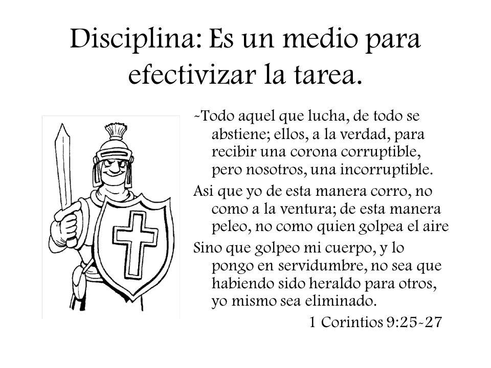 Disciplina: Es un medio para efectivizar la tarea.