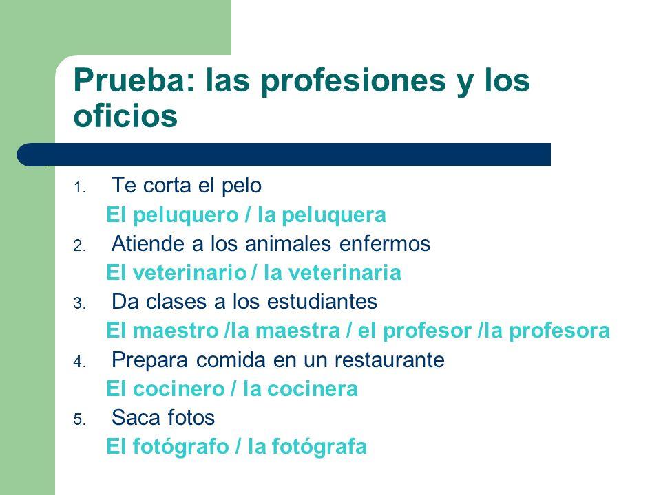 Prueba: las profesiones y los oficios