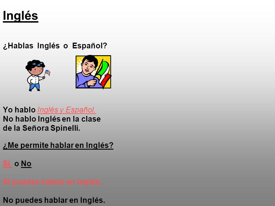Inglés ¿Hablas Inglés o Español. Yo hablo Inglés y Español