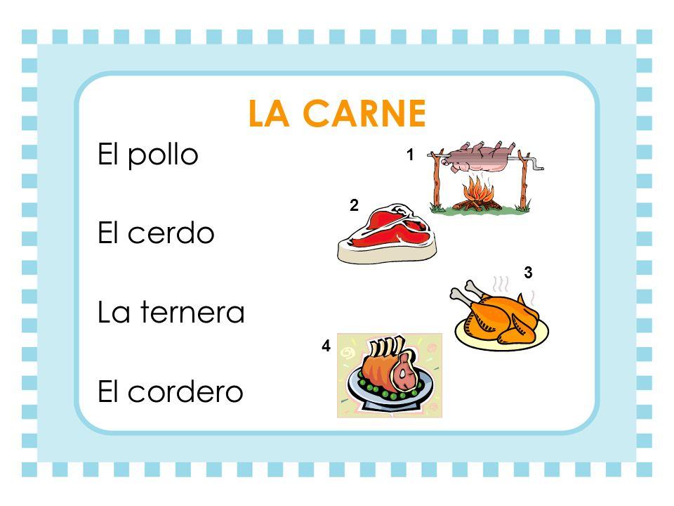 LA CARNE El pollo El cerdo La ternera El cordero 1 2 3 4