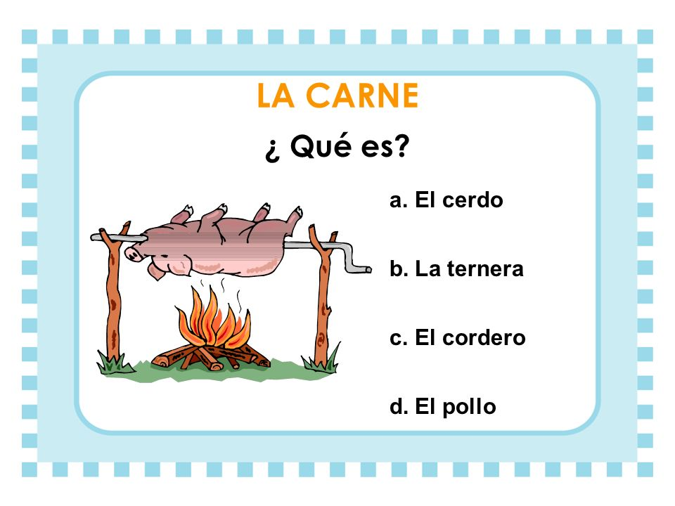 LA CARNE ¿ Qué es El cerdo La ternera El cordero El pollo