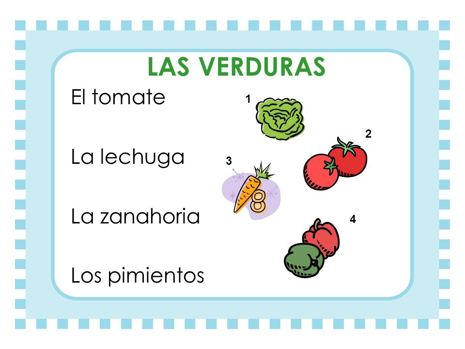 LAS VERDURAS El tomate La lechuga La zanahoria Los pimientos 1 2 3 4