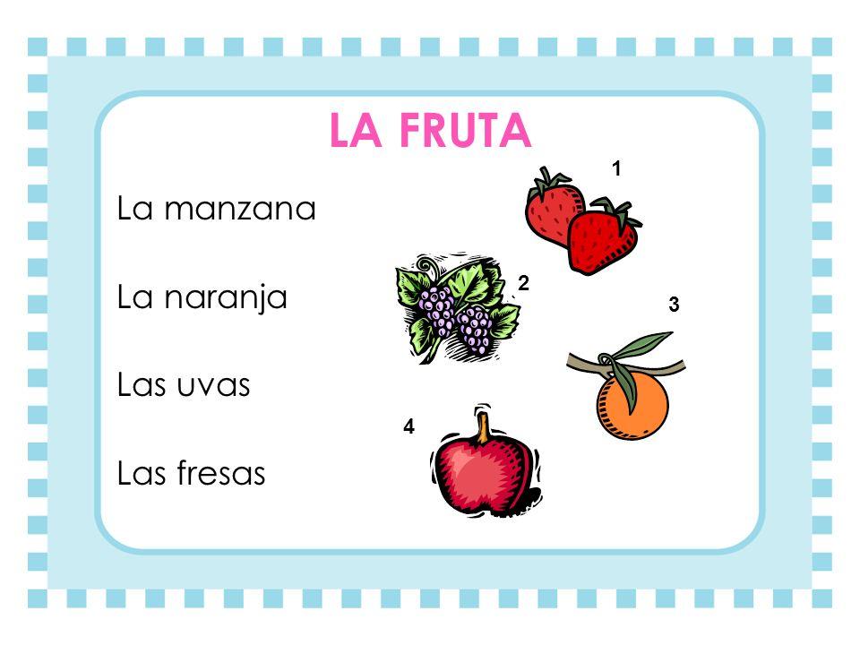 LA FRUTA 1 La manzana La naranja Las uvas Las fresas 2 3 4