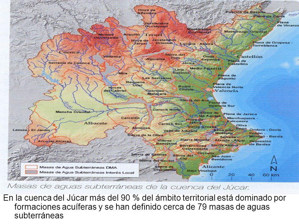 En la cuenca del Júcar más del 90 % del ámbito territorial está dominado por formaciones acuíferas y se han definido cerca de 79 masas de aguas subterráneas