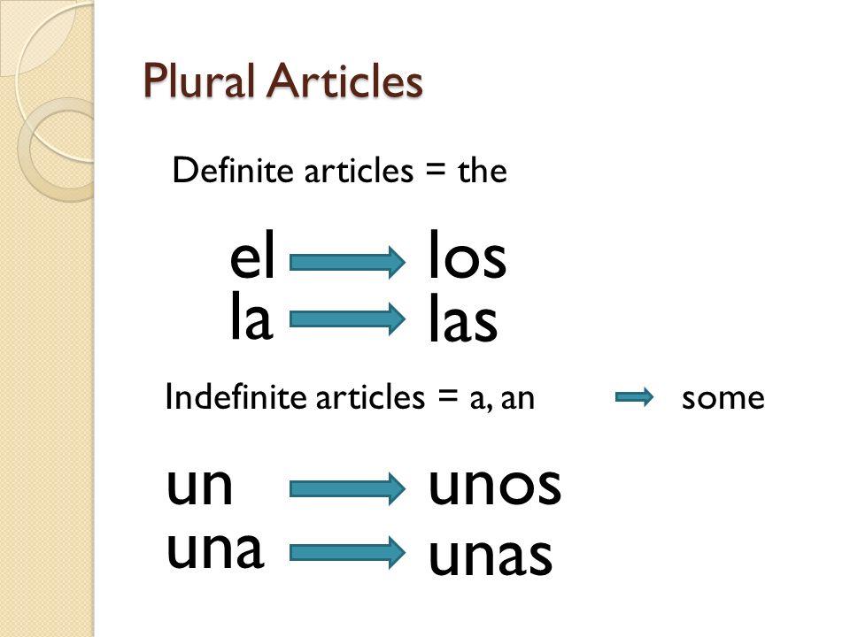 el los la las un unos una unas Plural Articles Definite articles = the