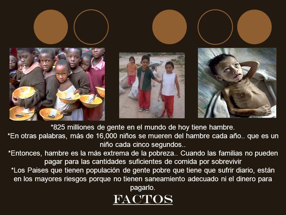 *825 milliones de gente en el mundo de hoy tiene hambre.