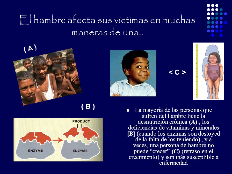 El hambre afecta sus víctimas en muchas maneras de una..