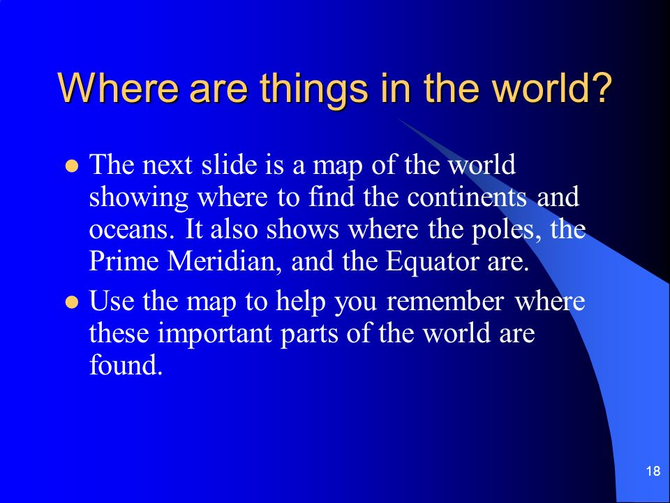 Where are things in the world