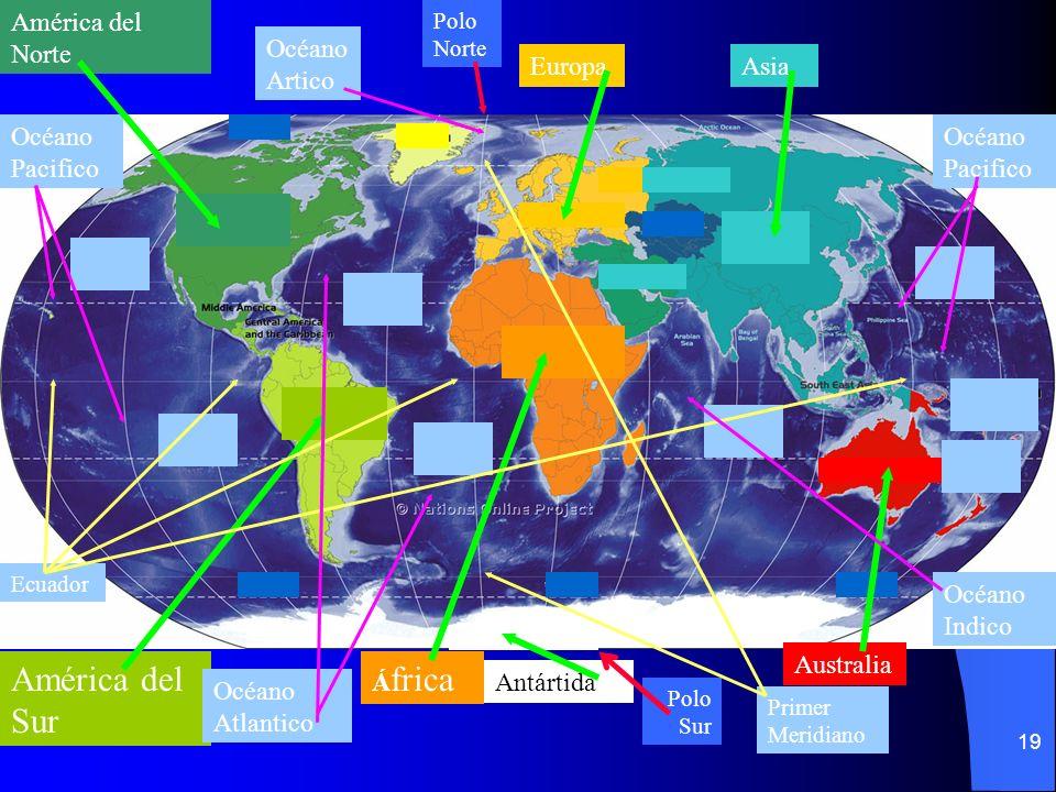 América del Sur América del Norte Océano Artico Europa Asia