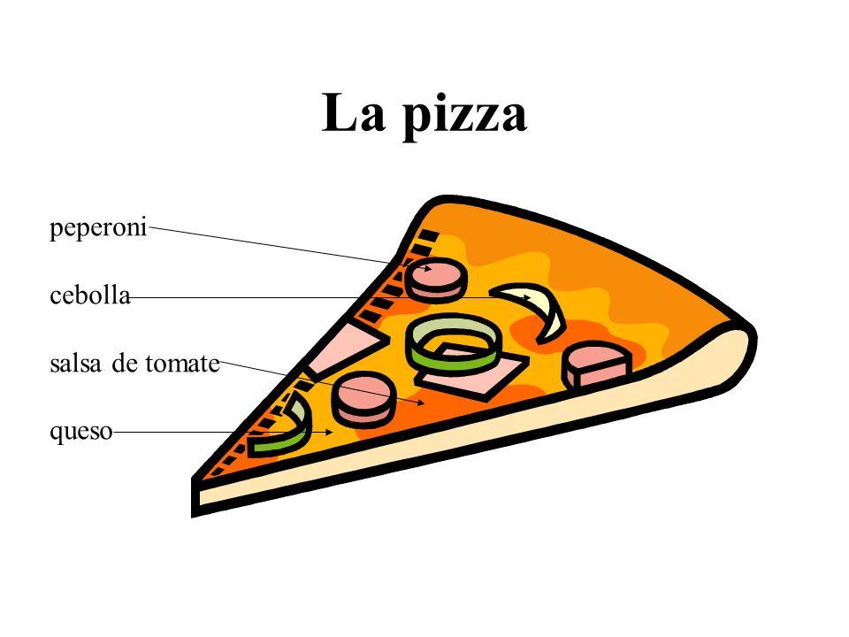 La pizza peperoni cebolla salsa de tomate queso