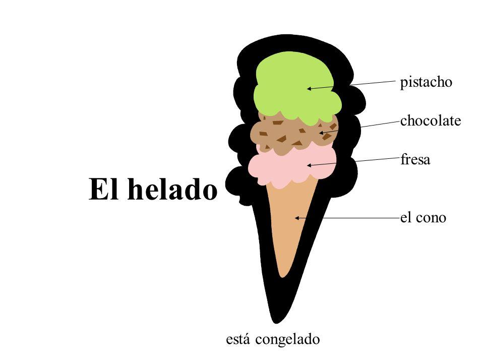 pistacho chocolate fresa el cono El helado está congelado