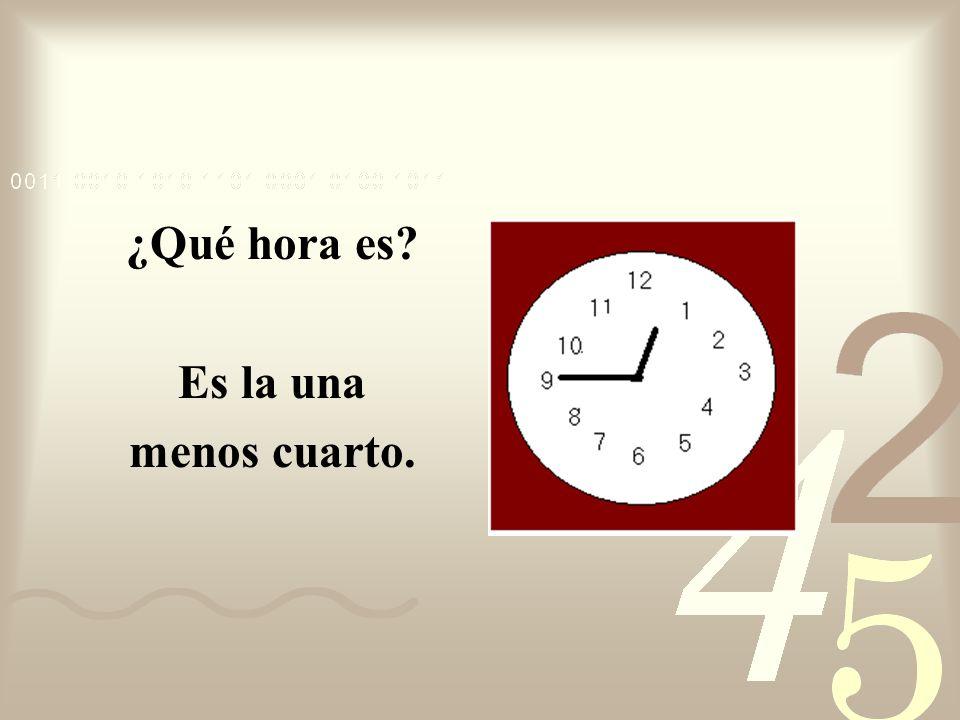 ¿Qué hora es Es la una menos cuarto.