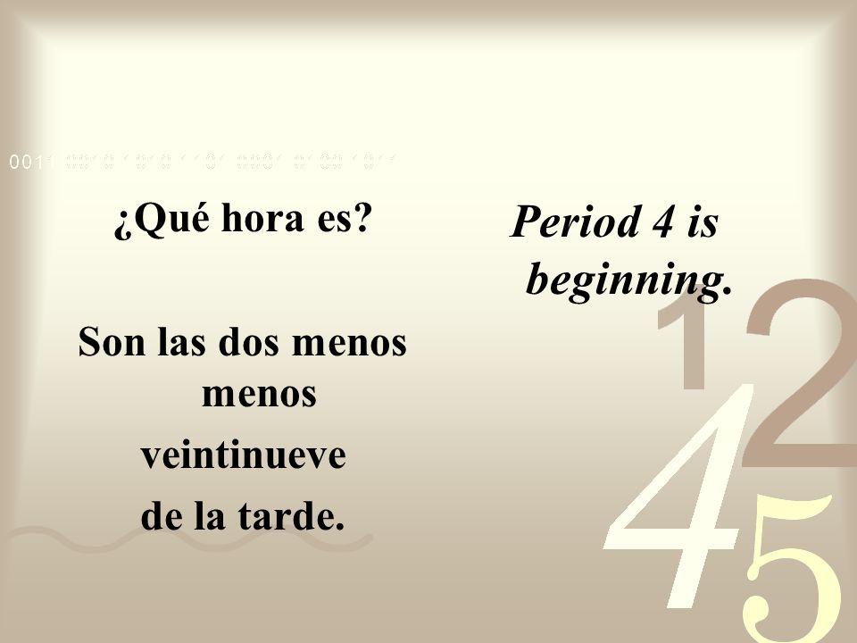 Period 4 is beginning. ¿Qué hora es Son las dos menos menos
