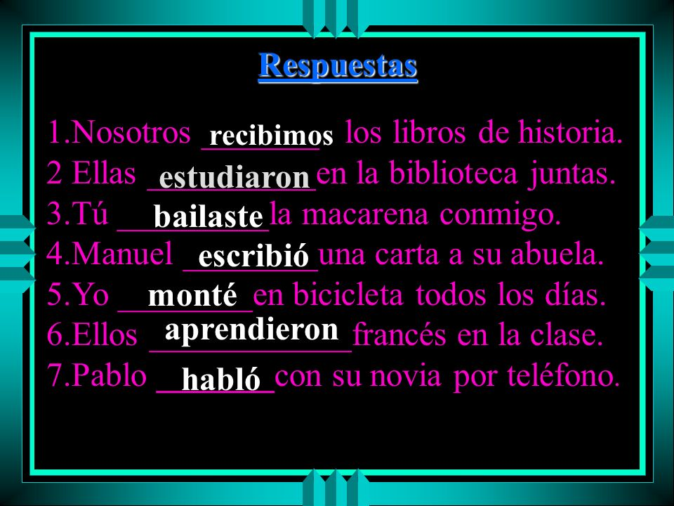 1.Nosotros _______ los libros de historia.