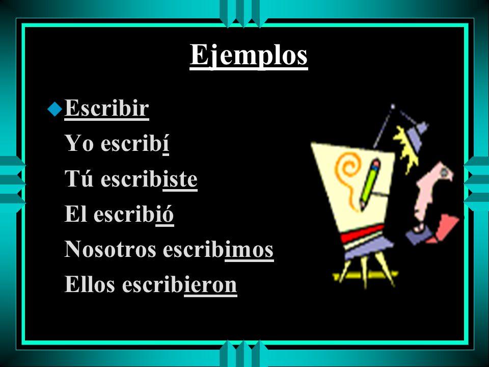 Ejemplos Escribir Yo escribí Tú escribiste El escribió