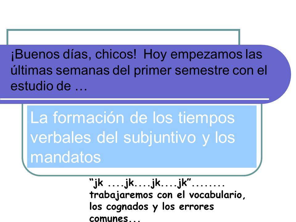 La formación de los tiempos verbales del subjuntivo y los mandatos
