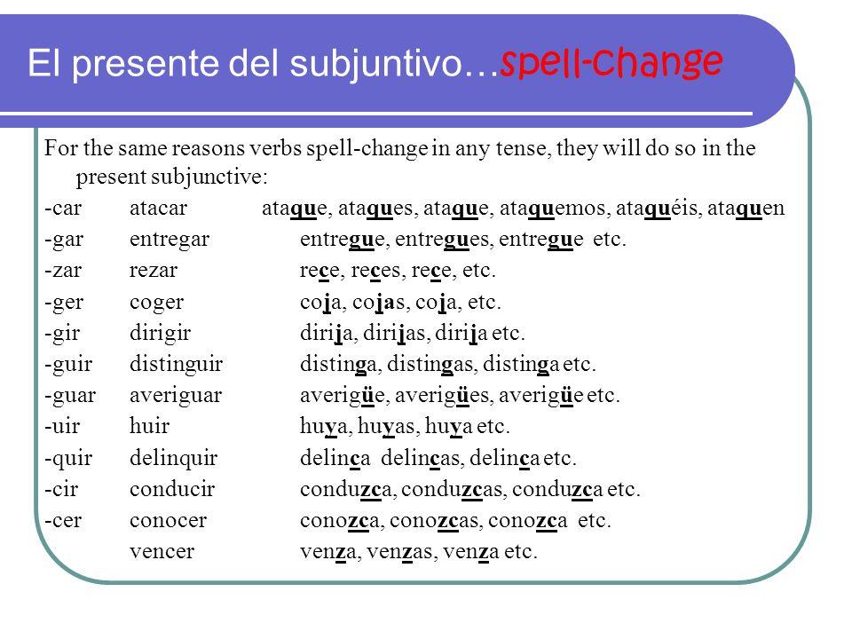 El presente del subjuntivo…spell-change