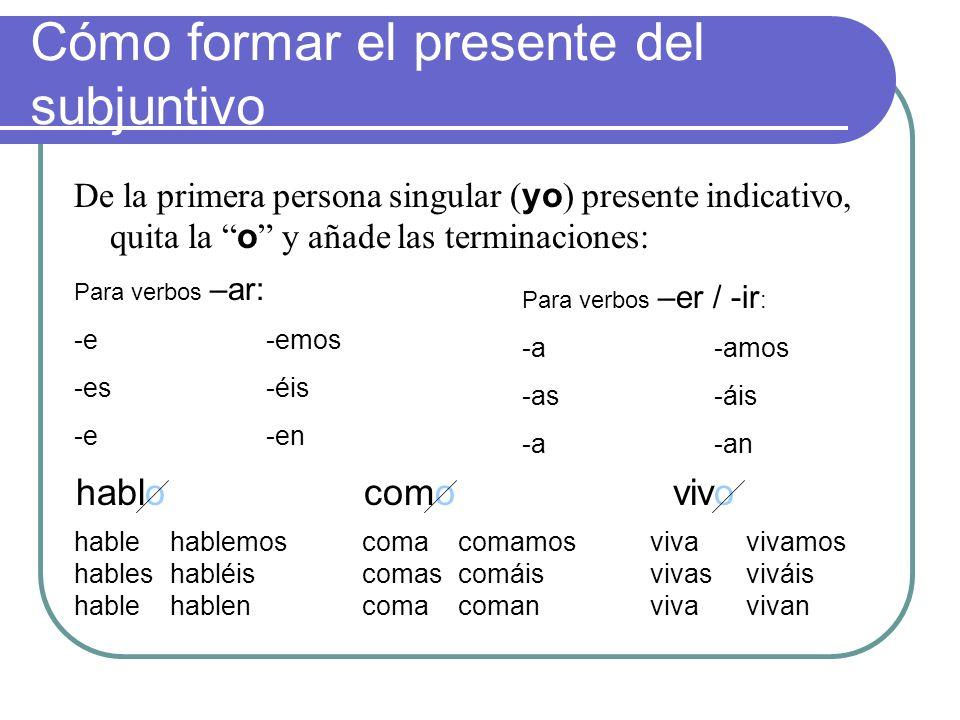 Cómo formar el presente del subjuntivo