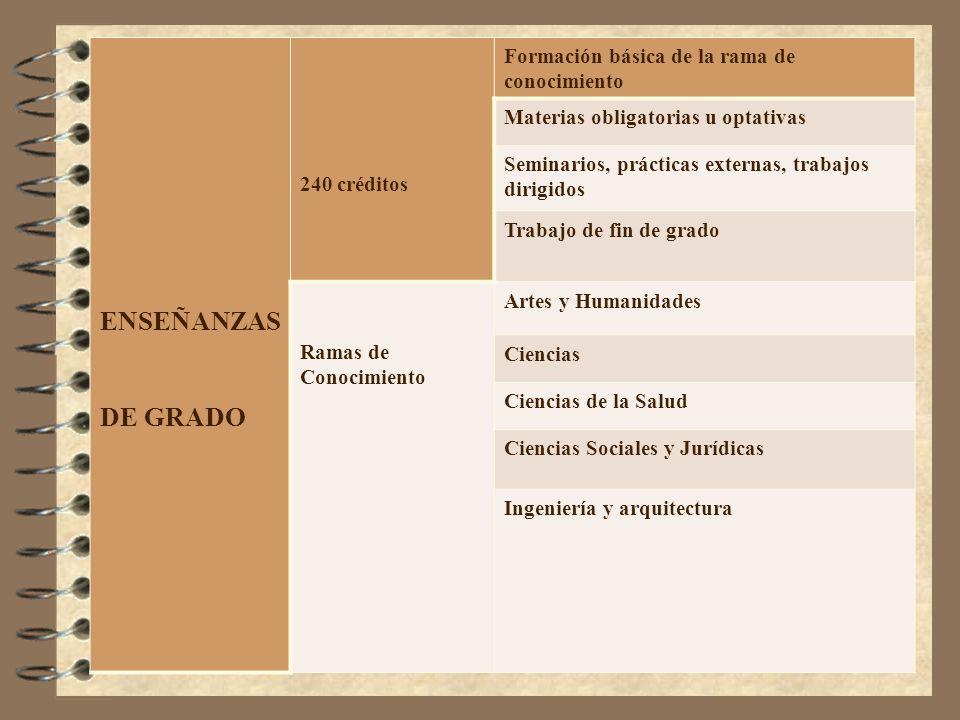 ENSEÑANZAS DE GRADO Formación básica de la rama de conocimiento