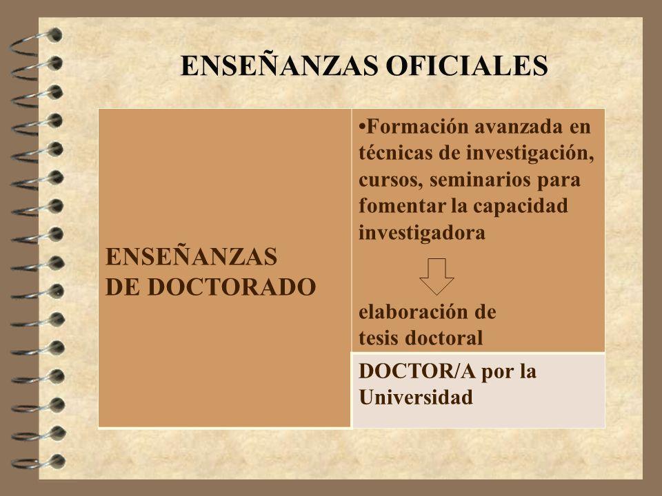 ENSEÑANZAS OFICIALES ENSEÑANZAS DE DOCTORADO