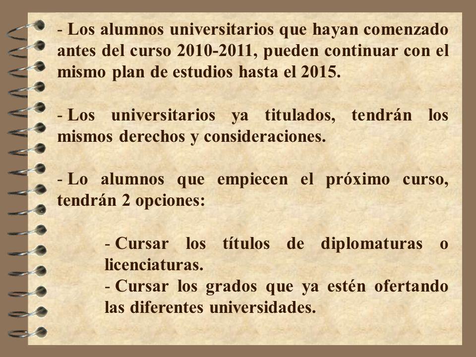 Los alumnos universitarios que hayan comenzado antes del curso 2010-2011, pueden continuar con el mismo plan de estudios hasta el 2015.