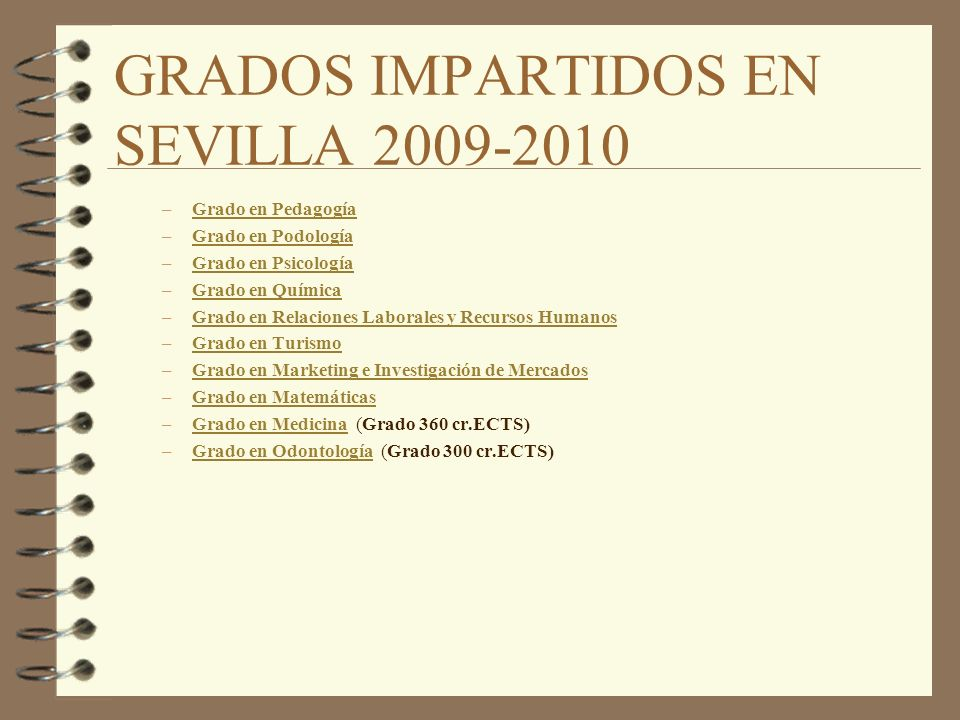 GRADOS IMPARTIDOS EN SEVILLA 2009-2010