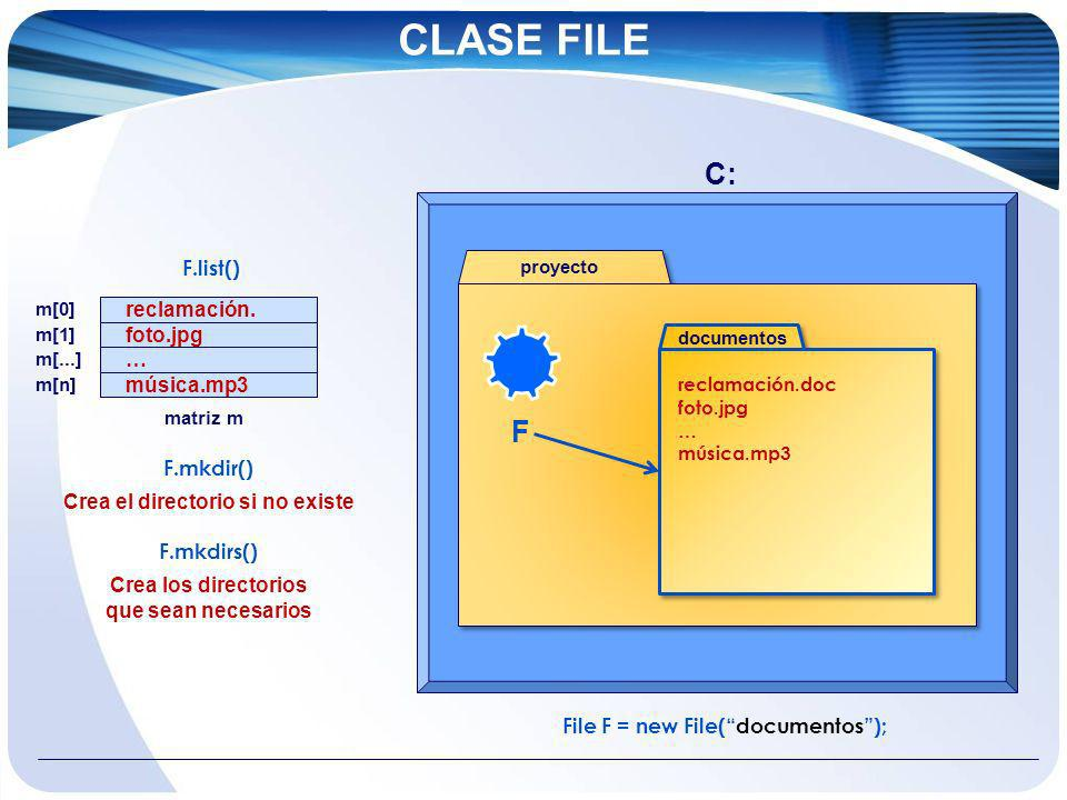 Crea el directorio si no existe File F = new File( documentos );