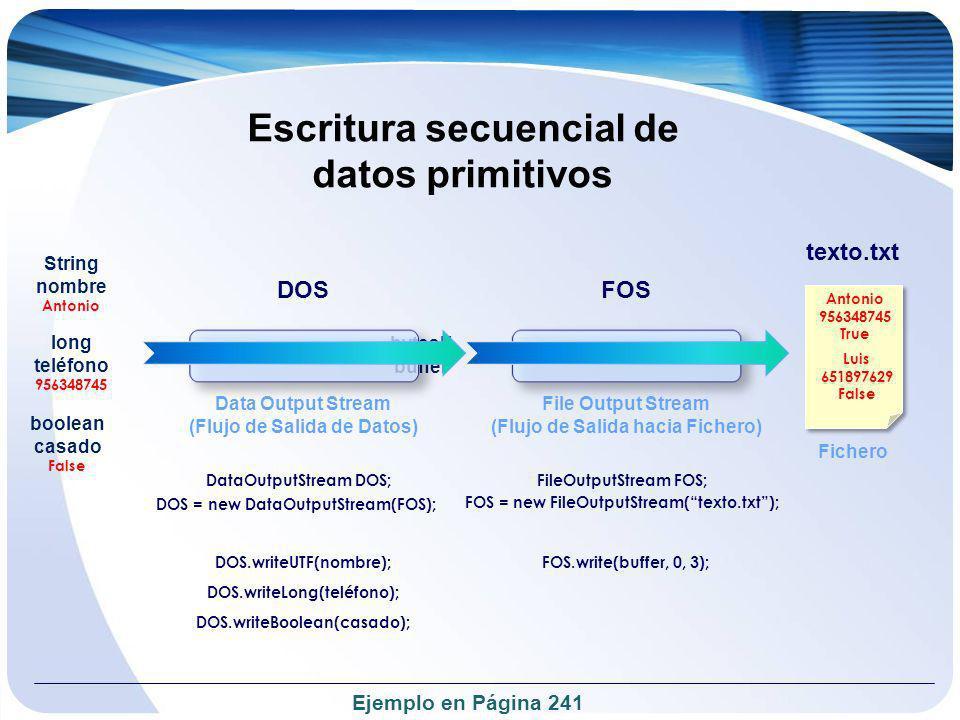 Escritura secuencial de datos primitivos