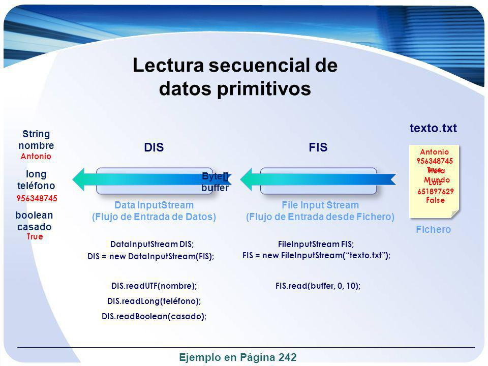 Lectura secuencial de datos primitivos
