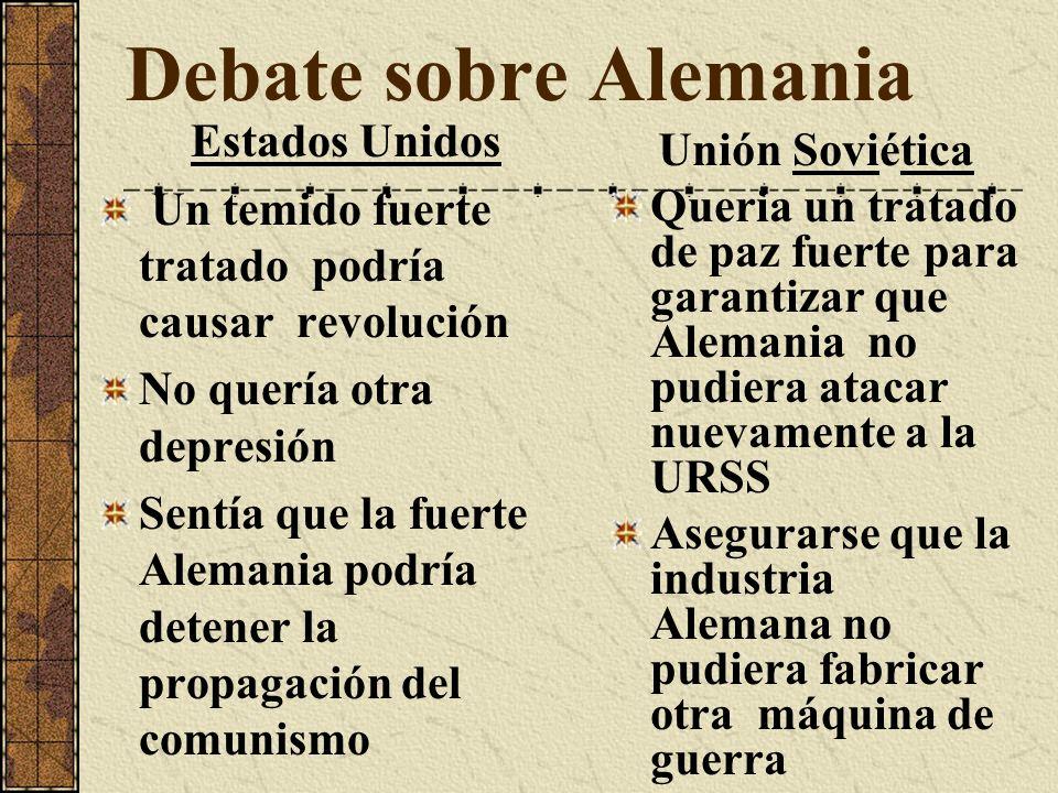 Debate sobre Alemania Estados Unidos Unión Soviética