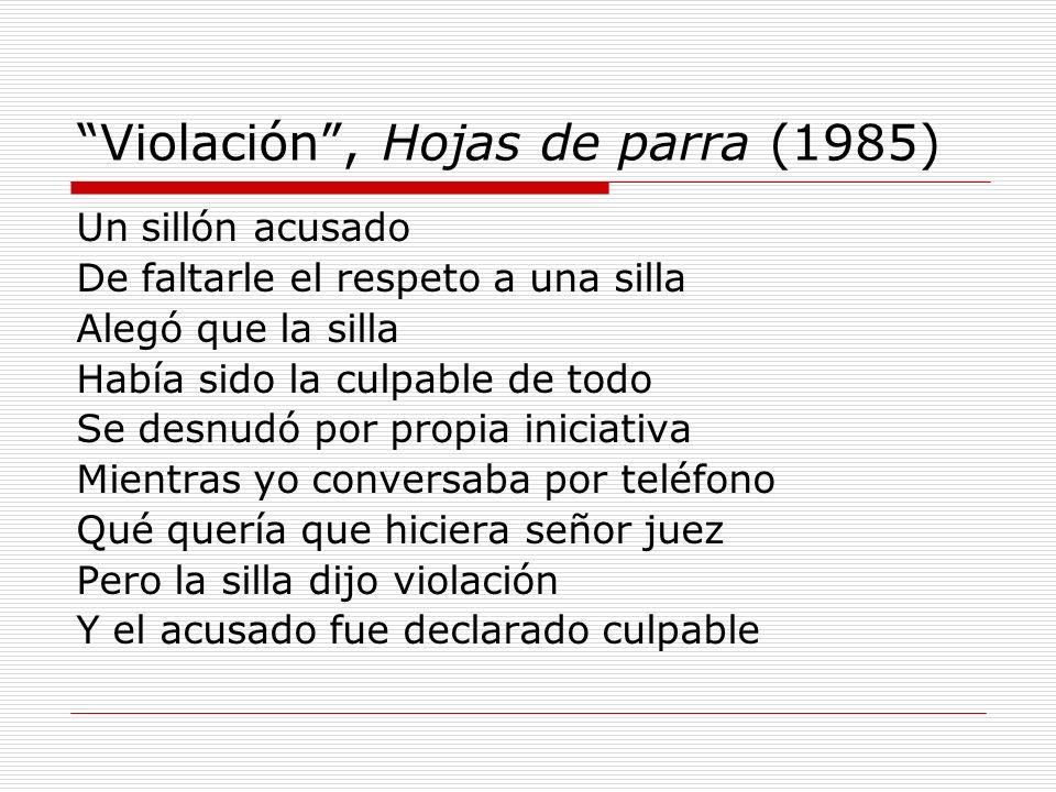 Violación , Hojas de parra (1985)