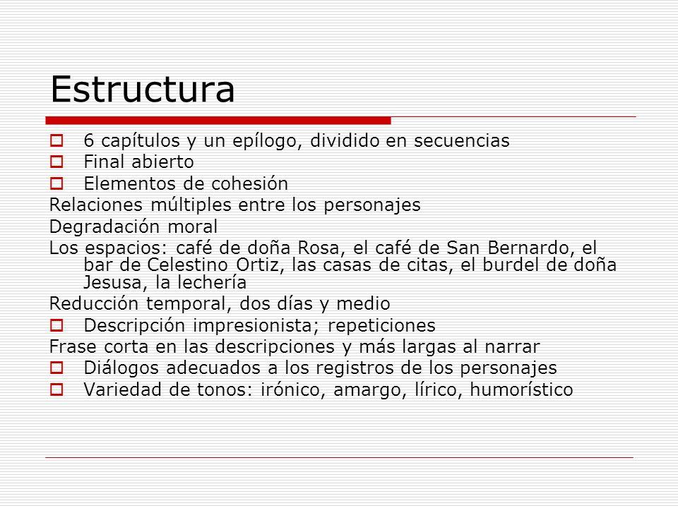 Estructura 6 capítulos y un epílogo, dividido en secuencias