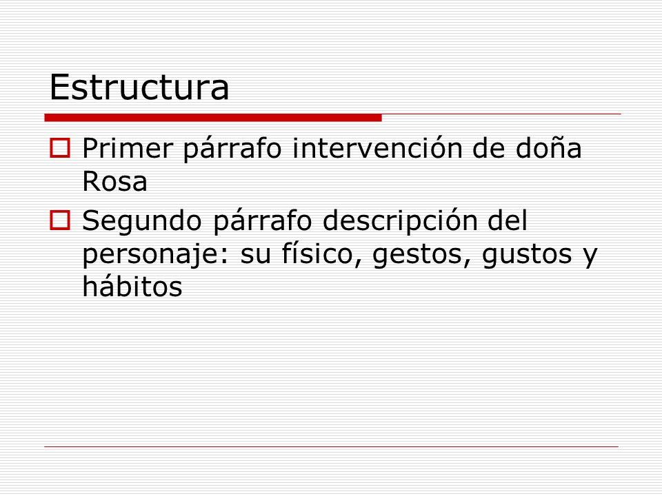 Estructura Primer párrafo intervención de doña Rosa