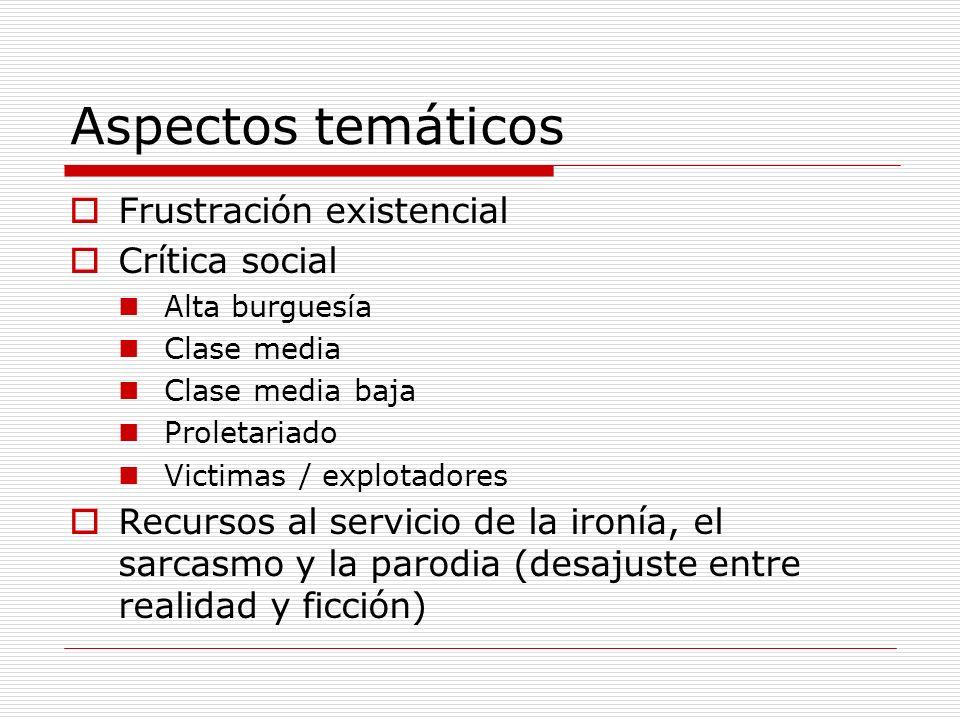 Aspectos temáticos Frustración existencial Crítica social