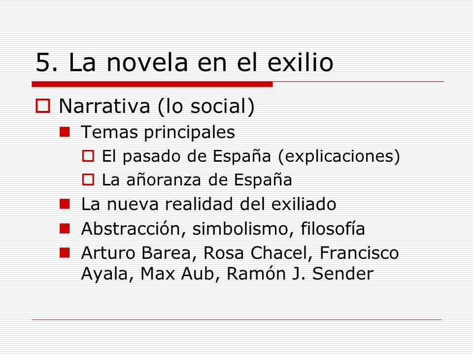 5. La novela en el exilio Narrativa (lo social) Temas principales