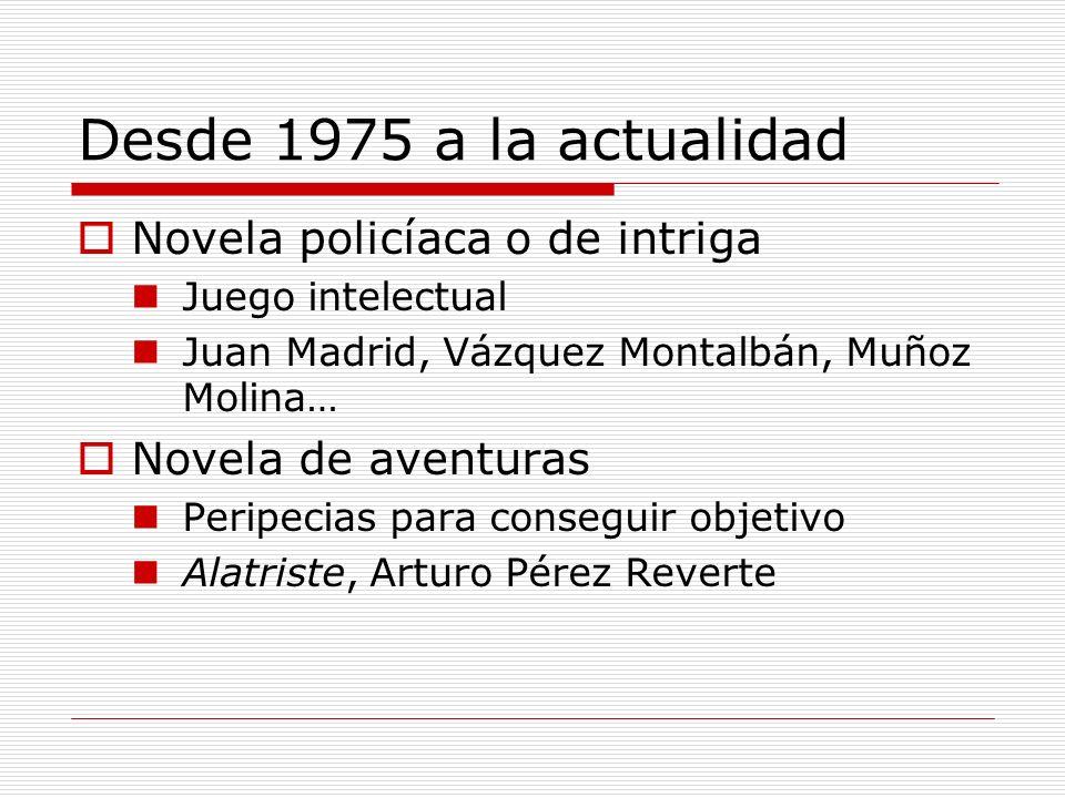 Desde 1975 a la actualidad Novela policíaca o de intriga