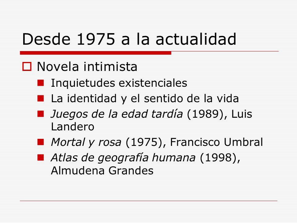 Desde 1975 a la actualidad Novela intimista Inquietudes existenciales