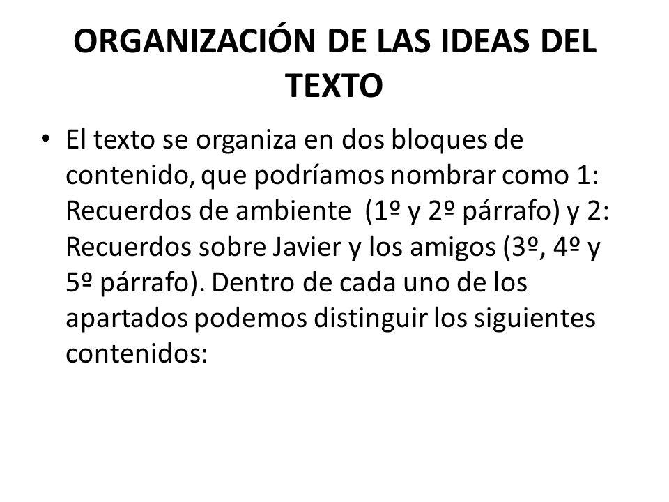 ORGANIZACIÓN DE LAS IDEAS DEL TEXTO