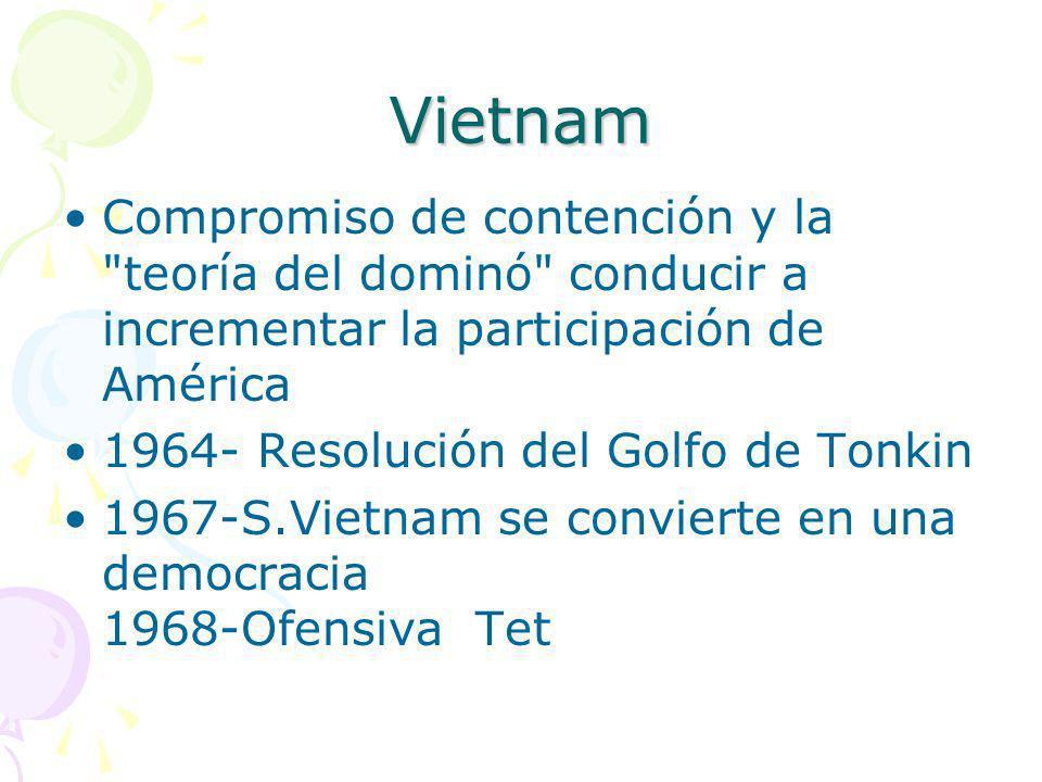 Vietnam Compromiso de contención y la teoría del dominó conducir a incrementar la participación de América.