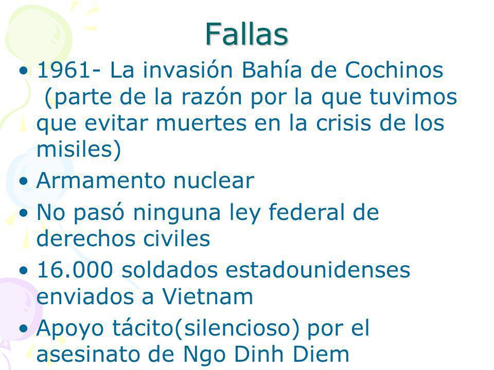 Fallas 1961- La invasión Bahía de Cochinos (parte de la razón por la que tuvimos que evitar muertes en la crisis de los misiles)