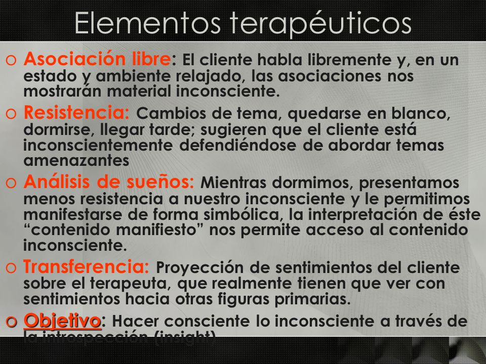 Elementos terapéuticos