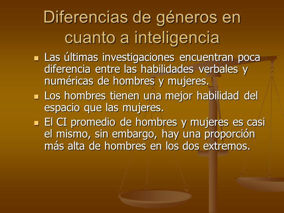 Diferencias de géneros en cuanto a inteligencia