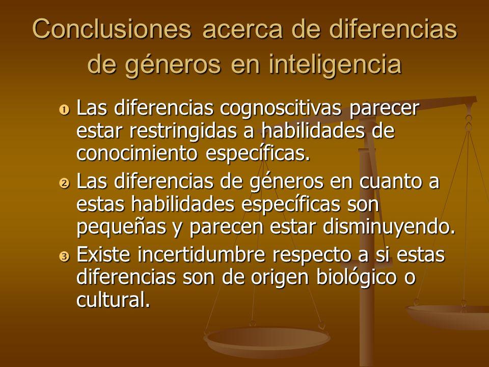 Conclusiones acerca de diferencias de géneros en inteligencia