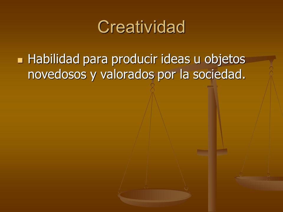 Creatividad Habilidad para producir ideas u objetos novedosos y valorados por la sociedad.